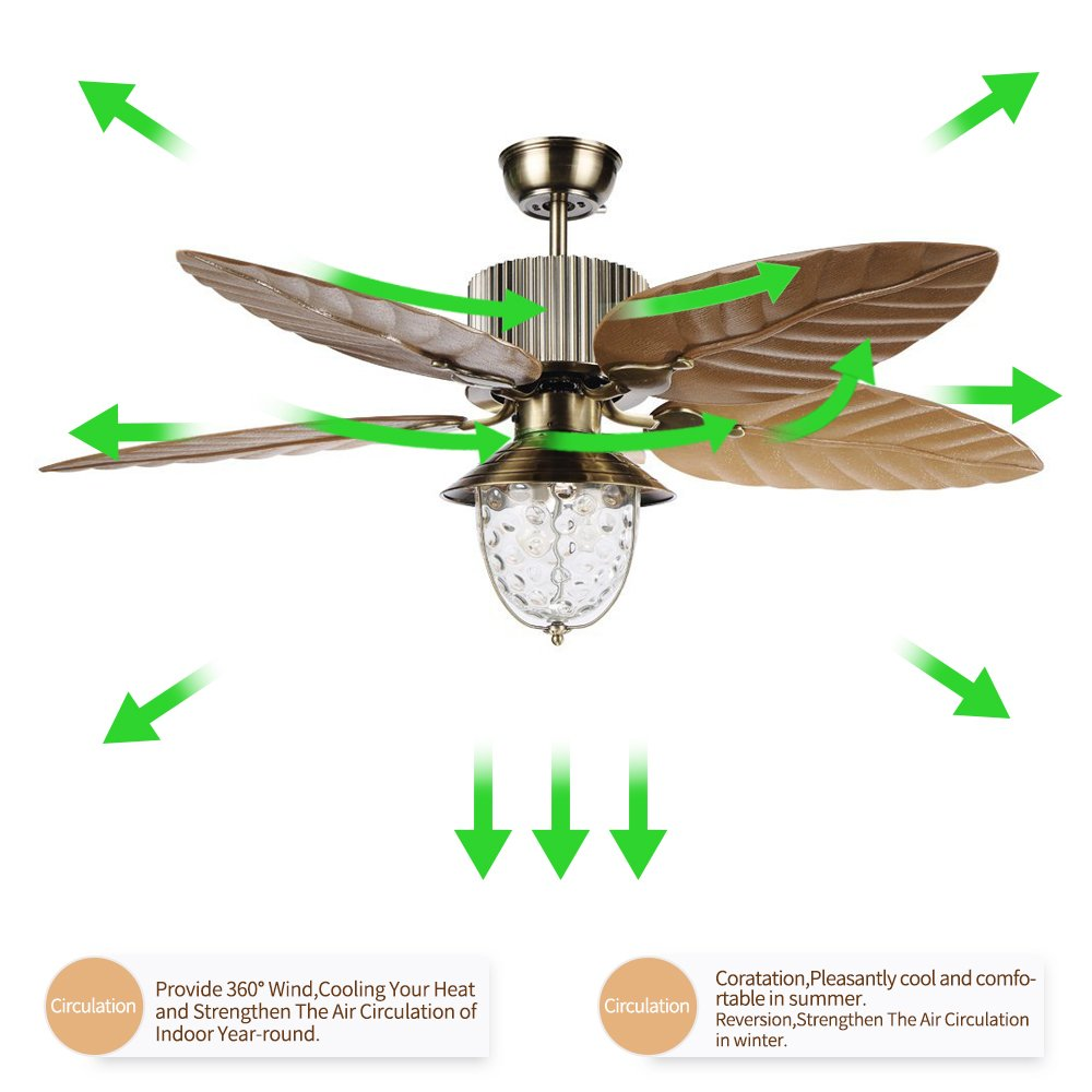 Tropicalfan Tropical Leaf Ceiling Fan With One Light Cover Indoor Home Dinner Room Living Room Quiet Windward Fans Chandelier 5 Plastic Reversible Blades 52 Inch Yellow by Tropical Fan (Image #4)