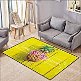 "Skid-Resistant Rug,Live Laugh Love,Tropical Pineapple Fruit with Sunglasses on Yellow Wood Board Joyful Print,Anti-Static, Water-Repellent Rugs,4'7""x6'6"" Multicolor"
