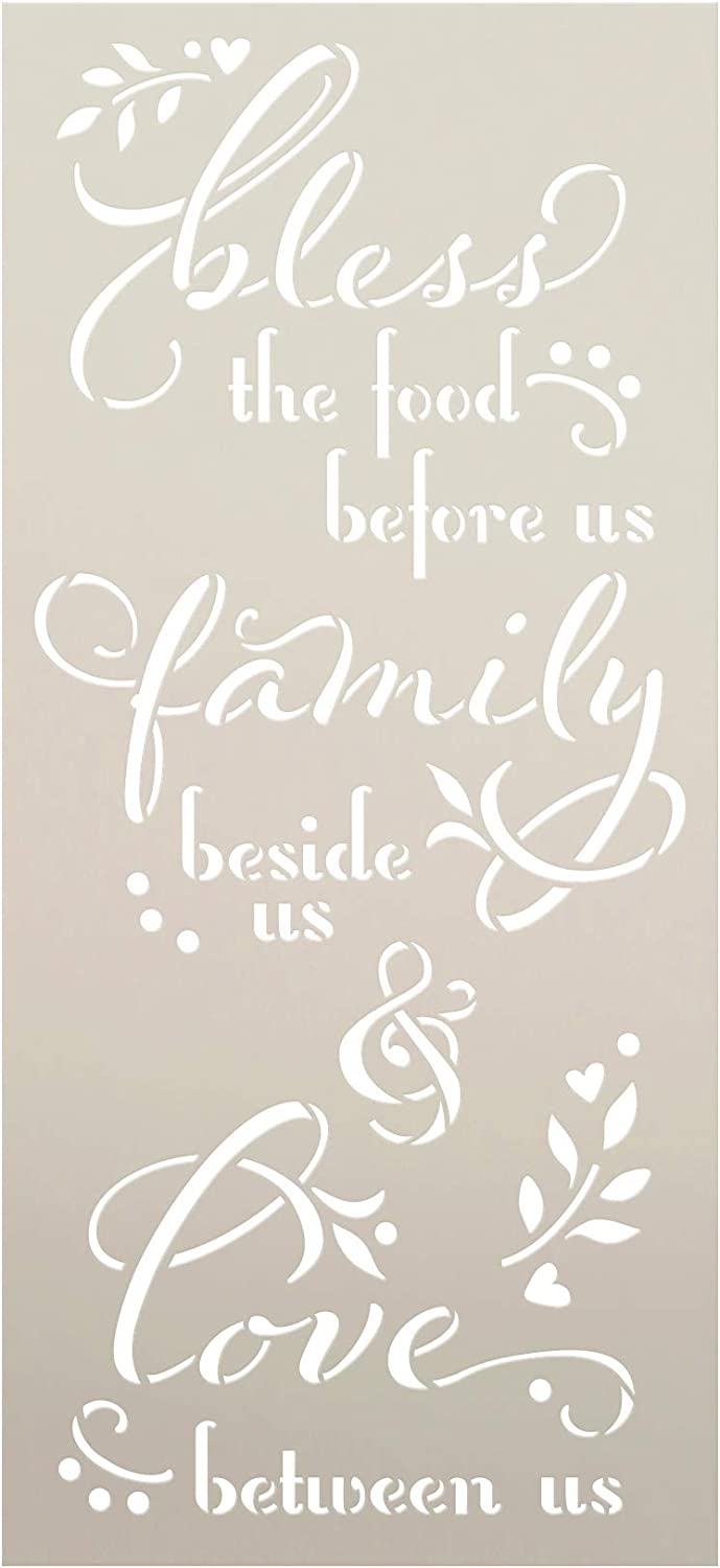 Bless The Food Before Us Stencil by StudioR12 | DIY Fall Family Home Decor | Paint Wood Signs | Reusable Template | Select Size (12 x 5.5 inch)
