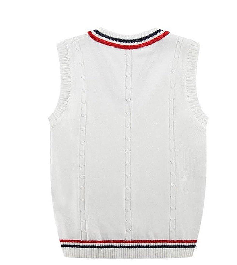 Sheng Xi Mens V Neck Stitching Stripe Sleeveless Knitting Vest Sweater