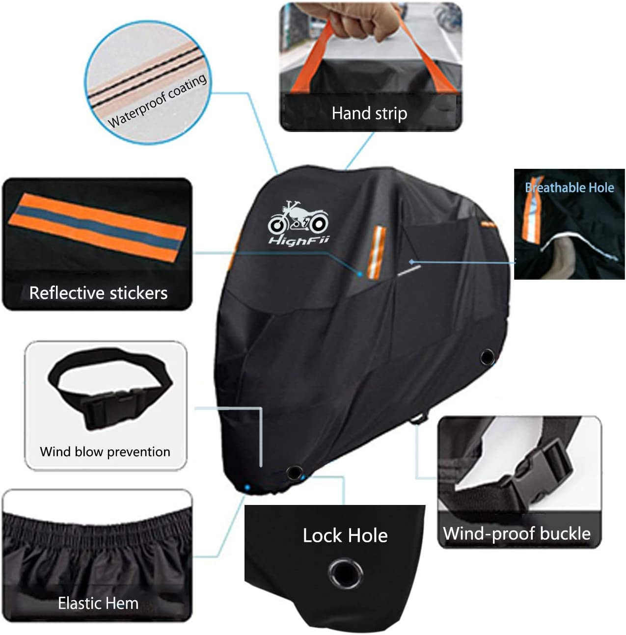 """XXL HighFii Motorcycle Cover All Season Waterproof 300D Premium Bike Cover Fits up to 96.5/"""""""