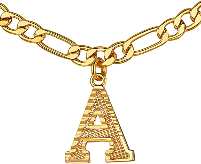 18th Bday Gift For Girl Figaro Chain Old English Necklace Women Birth Necklace Personalize Gold Name Necklace Custom Word Gothic Pendant