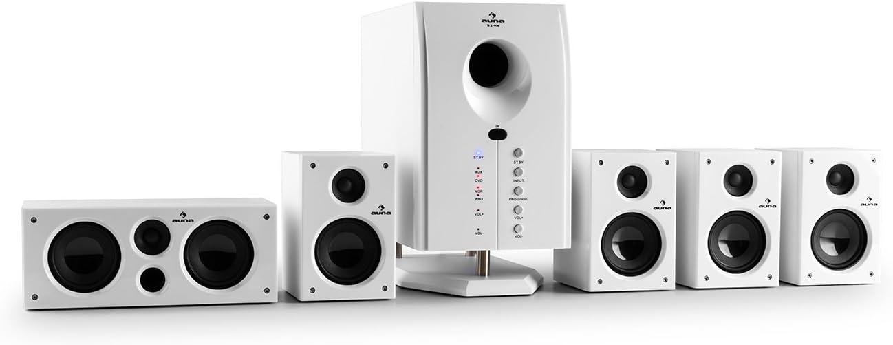 auna Areal 525 WH - Sistema de Sonido Envolvente 5.1 , Home Cinema , Surround , 125 W RMS , Subwoofer Activo Mono 5,25