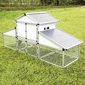 sliverylake gallinero Patio pajarera con madera de aleación de aluminio jaula de aves de corral gallinero con Run esfera huevo jaula (tamaño grande), diseño de gallina