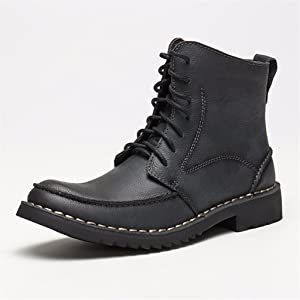 Moonwalker Men's Full Grain Leather Lace-Up Side Zip Chukka Ankle Boots (7 D(M) US,Black)