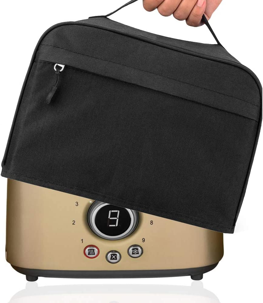 Hsonline 2 Slice Toaster Cover, with Zipper & Open Pockets Hold Spreader Knife & Toaster Tongs, Dust and Fingerprint Protection Kitchen Small Appliance Cover, Machine Washable,Black, 11.5x7.5x8 inches