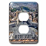 3dRose Danita Delimont - Cities - Vatican City, Italy, St. Peters Square - Light Switch Covers - 2 plug outlet cover (lsp_277597_6)