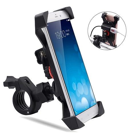 TR Turn Raise Giratorio Montaje de Motocicleta Moto Soporte para Teléfono Celular con Impermeable 2.1A
