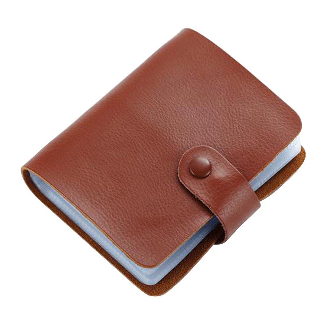 Esdrem portafoglio porta carte di credito Business ID card case Book Style 60count Name card Holder Book Misura unica Brown