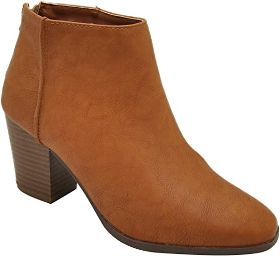 Women/'s Shoes Qupid REDA-01 Chunky Heel Ankle Booties CAMEL *New*