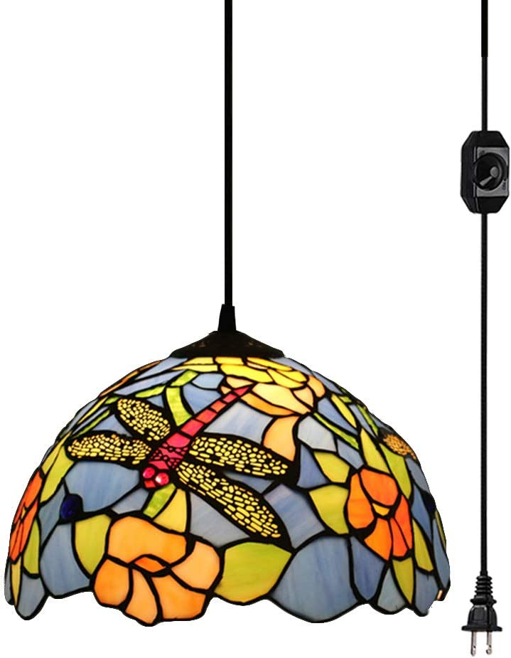 STGLIGHTING 15 Feet Plug-in UL Listed On Off Dimmer Switch Cord Colorful Handmade Mediterranean Shade Tiffany Style Antique Chandelier Decorative Pendant Light Bulb Not Included