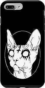 iPhone 7 Plus/8 Plus Black Death Metal Sphynx Cat Goth Phone Case