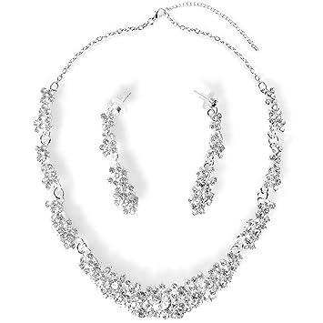 15b754d0 StillCool Collar Pendientes Fiesta Aretes para Mujer Diamantes de Imitación  Boda Nupcial Joyas Set