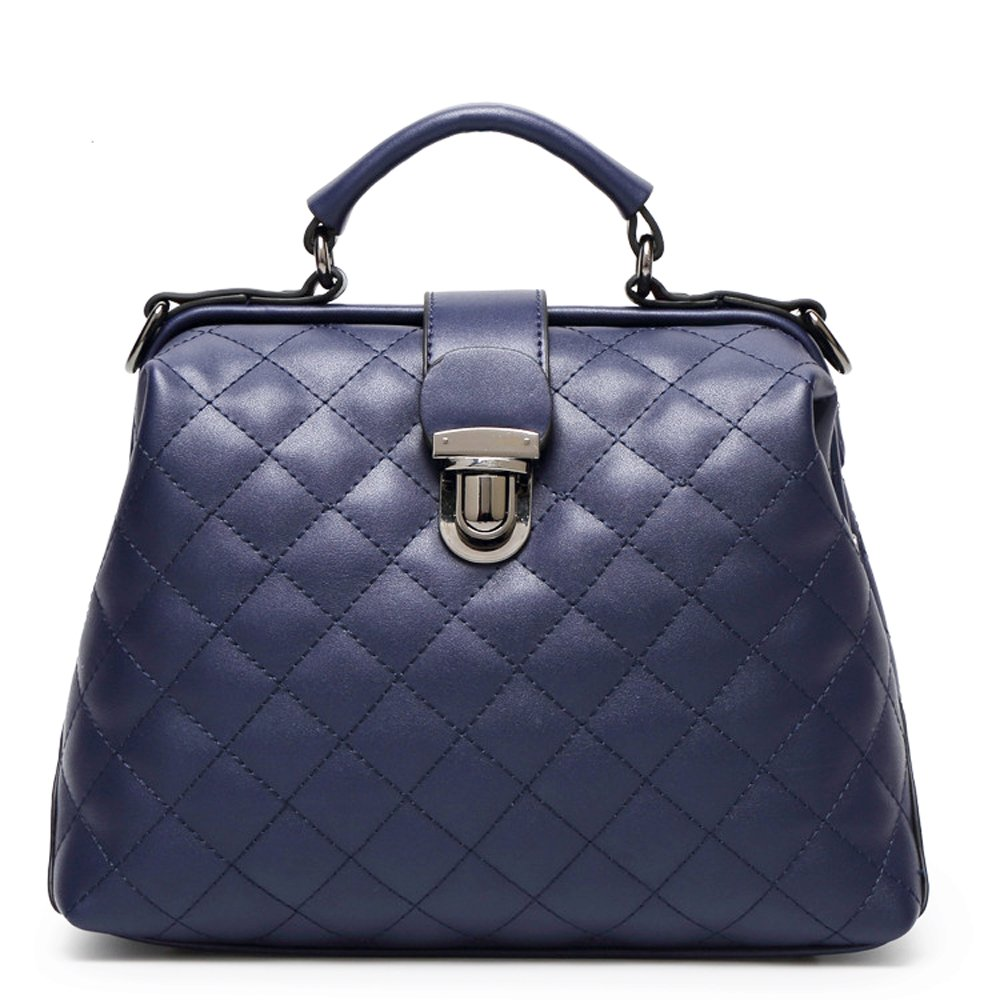 Mn&Sue Top Handle Satchel Diamond Quilted Cross Body Bag Lady Purse Doctor Style Handbag (Dark Blue)