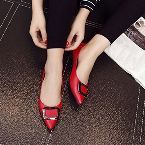 GIY Womens Fashion Pointed Toe Loafer Flat Slip-On Comfort Buckle Dress Ballet Walking Loafer Shoes Red eolcgog