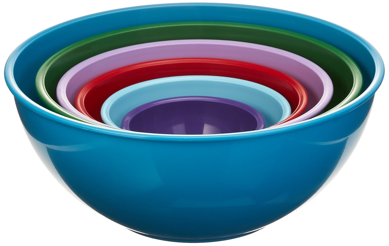Gourmet Home Products 139714 Nested Polypropylene Mixing Bowl Set,6 Piece , Light Slate by Home Gourmet