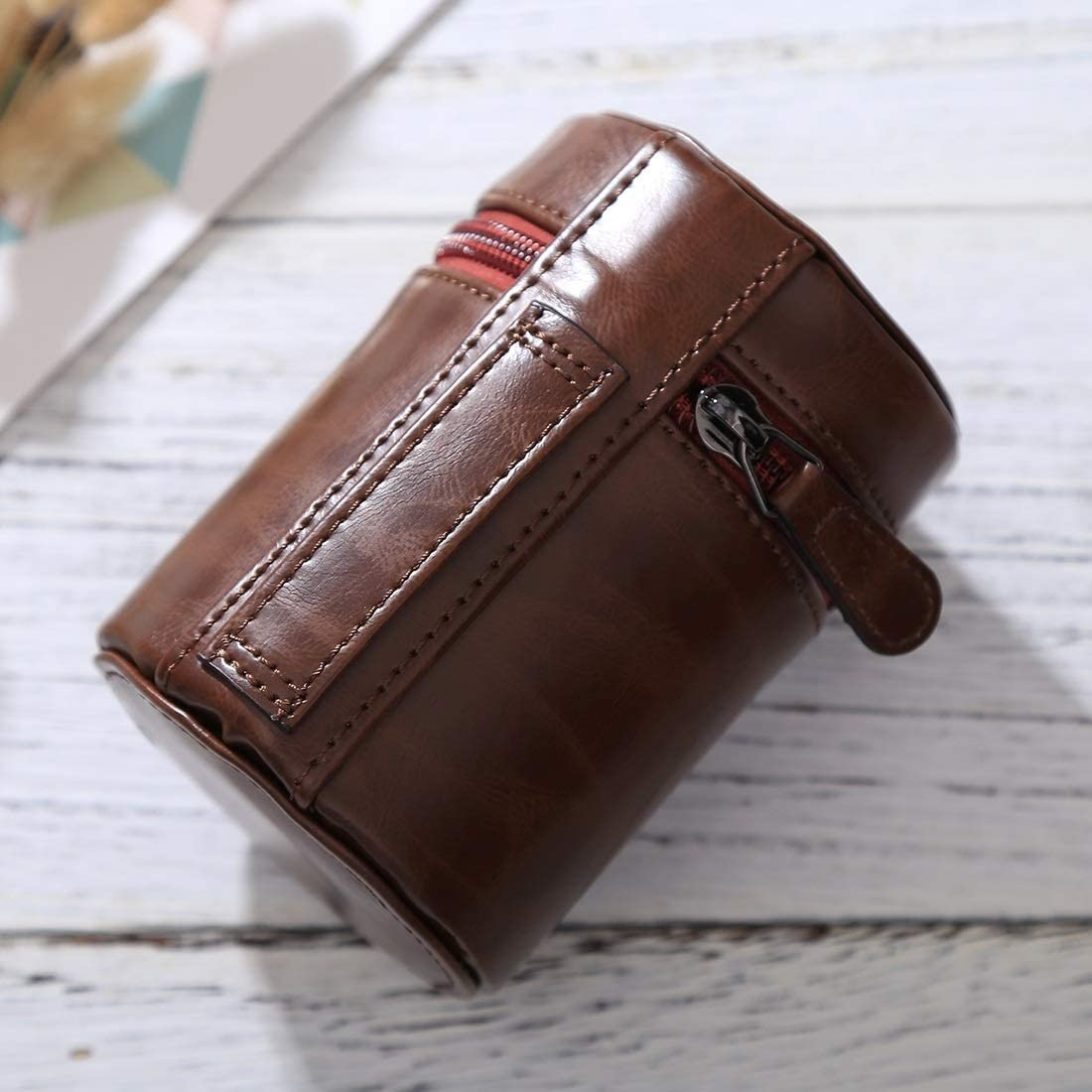 Color : Coffee Size: 11x8x8cm MEETBM ZIMO,Small Lens Case Zippered PU Leather Pouch Box for DSLR Camera Lens Black