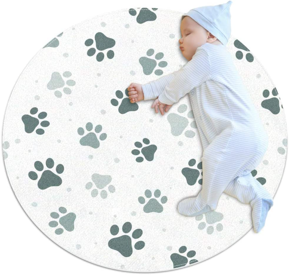 VFSS Animal Paw Print Kids Play Mat Round Baby Nursery Rugs Portable Toys Storage Bag Crawling Mat Diameter