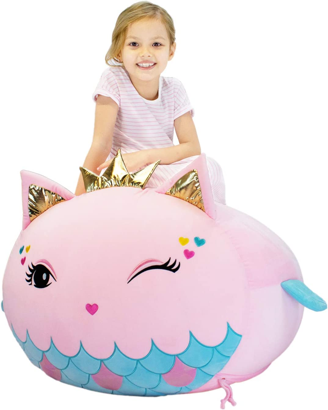 Mermaid Stuffed Animal Toy Storage Kids Bean Bag Chair Cover Large Size 23x23 Inch Velvet Extra Soft Stuffed Organization Replace Mesh Toy Hammock for Kids Blankets Towels Clothes Home Supplies Pink