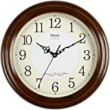 HENSE 13-inch Large Solid Platane Wood Wall Clock Living Room Modern Clock Mute Simple Quartz Clock with Big Arabic Numerals and Fine Texture HW13 (HW13 #B-B)