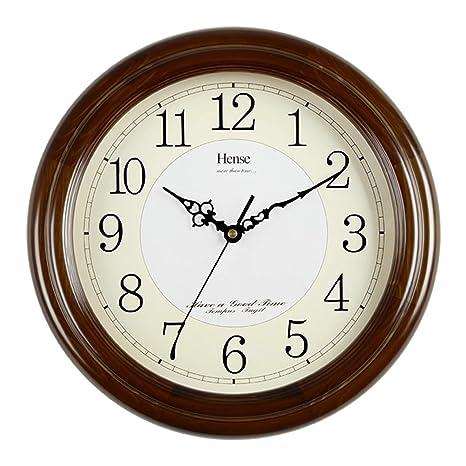 HANSHI grande sólida Muro de madera reloj de pared salón Modern Reloj Silenciar Fácil Fácil cuarzo