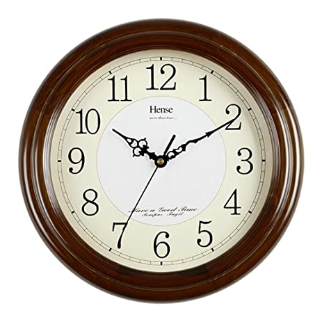 modern clocks for living room. HENSE 12 6 inch Large Solid Platane Wood Wall Clock For Kitchen Living Room  Modern Amazon com