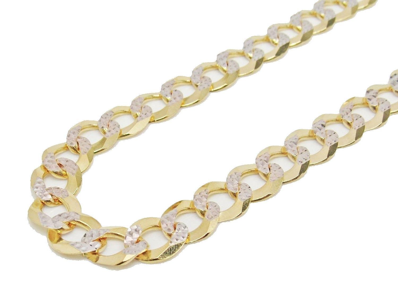 10k Gold Cuban Link Chain >> Amazon Com Solid 10k Italian Yellow Gold Curb Cuban Link Diamond