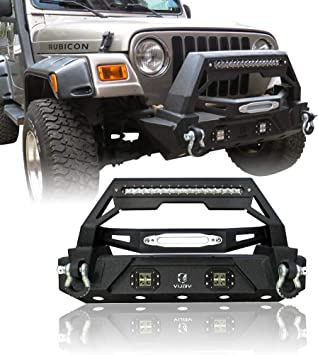 Jeep TJ Front Bumper w//Winch Plate /& LED Lighting for 1997 1998 1999 2000 2001 2002 2003 2004 2005 2006 Jeep TJ Wrangler