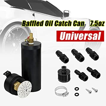 Aluminium Baffled Oil Catch Can Reservoir Tank Breather Oil Filter Separator US