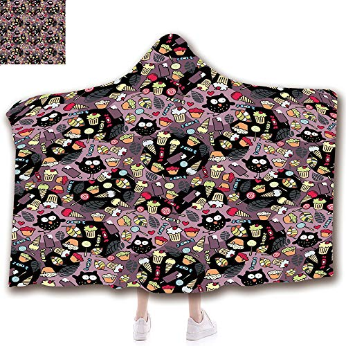 scocici Fashion Blanket Ancient China Decorations Blanket Wearable Hooded Blanket,Unisex Swaddle Blankets for Babies Newborn by,Sweets Cupcakes Ice Cream Candy and Abstract,Adult Style Children Style