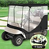 WATERPROOF SUPERIOR BLACK AND TRANSPARENT GOLF CART COVER COVERS ENCLOSURE CLUB CAR, EZGO, YAMAHA, FITS MOST FOUR-PERSON GOLF CARTS