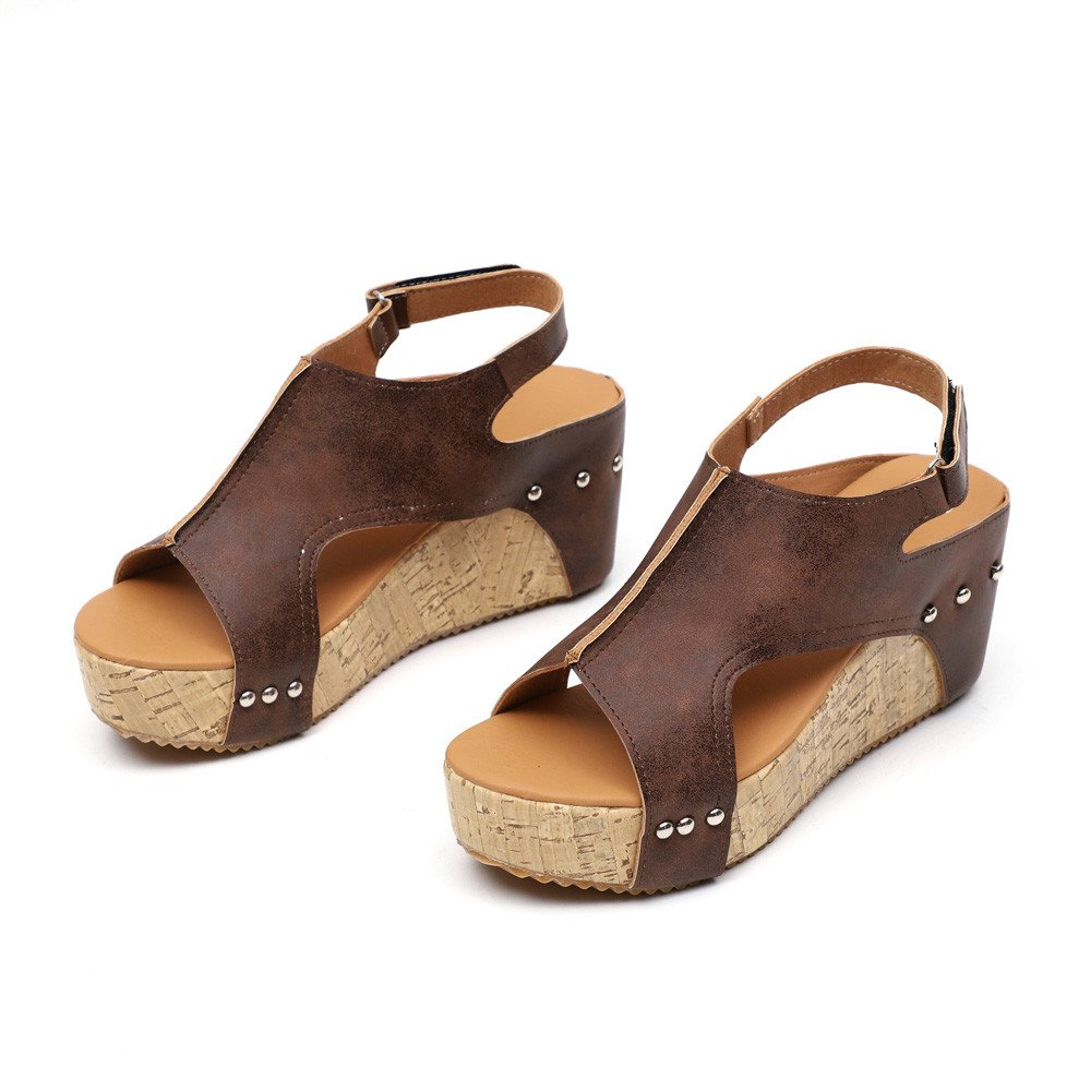 Shoes For Women,Clearance Sale, Farjing Summer Round Toe Breathable Rivet Beach Sandals Boho Casual Wedges Shoes(US:8.5,Brown )