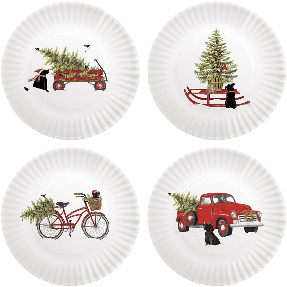 Mary Lake-Thompson Holiday Truck with Black Lab 8.75-inch Melamine Plates, Set of 4 MZ1191PP
