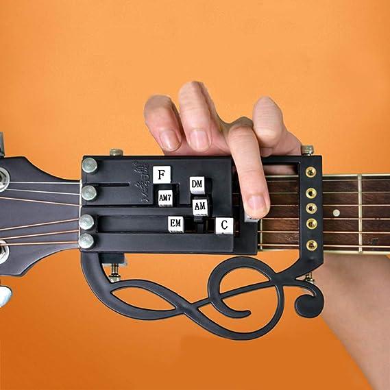 Fenglin principiante Lazy Man Auto-Assist Botón Reproduce Soporte de Guitarra Antidolor Diapasón de una tecla Chord Booster: Amazon.es: Instrumentos musicales