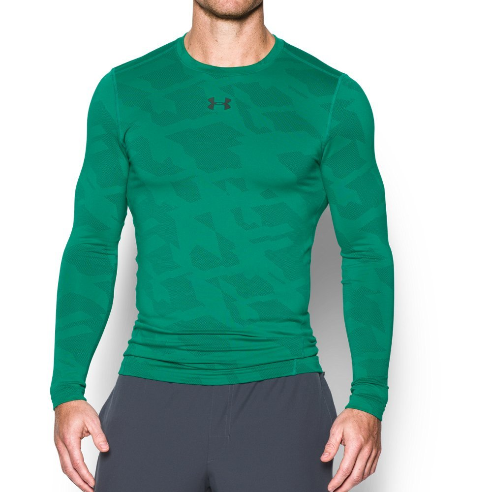 Under Armour Men's ColdGear Armour Jacquard Compression Crew, Geode Green/Stealth Gray, Small