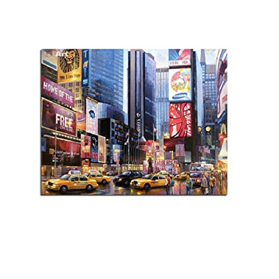 Classic Jigsaw Puzzle 500 Pieces Adult Puzzle Wooden Puzzle New York Street by Hand a Busy Day Home Decoration Landscape Wall Art Decor Modern Art Home Decor Unique Gift Creative Craft 52X38Cm: Toys & Games