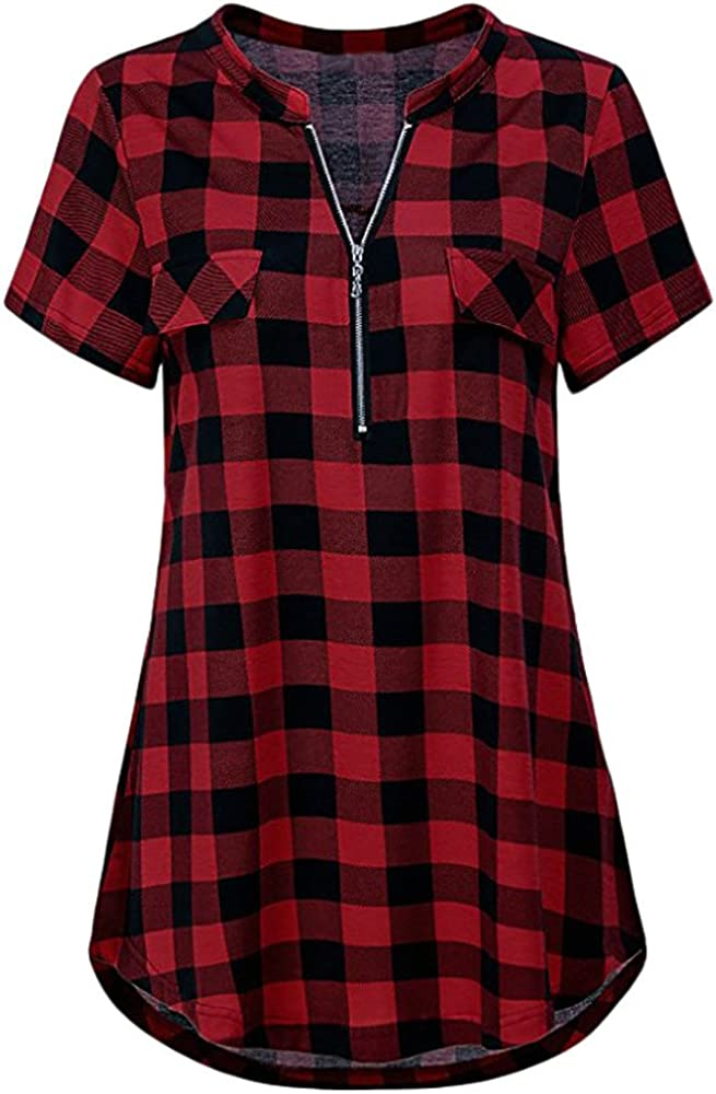 Bravetoshop Women Plus Size Plaid Tunic Short Sleeve V-Neck Zip Casual Loose Casual Top