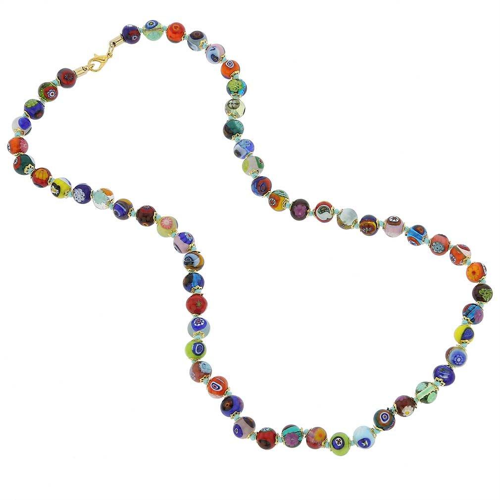 GlassOfVenice Murano Glass Mosaic Long Necklace - Multicolor