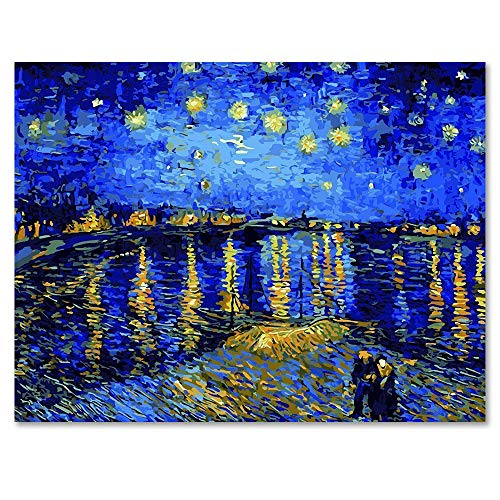 Rhone Art Framed (LIUDAO Paint by Numbers Kits 16x20 inches Canvas Painting for Adults & Kids Beginner with Acrylic Paints and Brushes - Starry Night Over The Rhone by Van Gogh (Without Frame))
