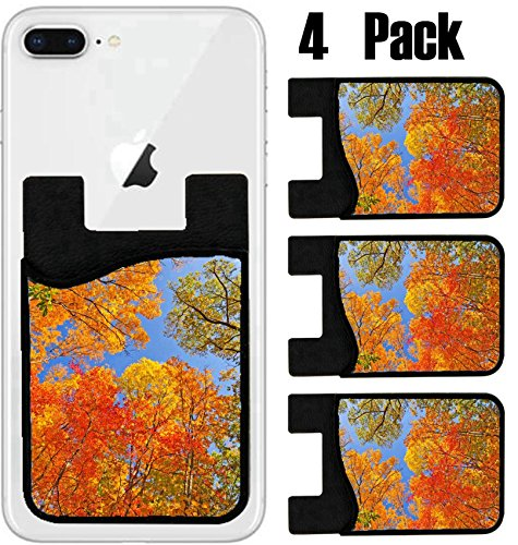 MSD Phone Card holder, sleeve/wallet for iPhone Samsung Android and all smartphones with removable microfiber screen cleaner Silicone card Caddy(4 Pack) Falls Colors in Brown County State Park in - Brown Indi