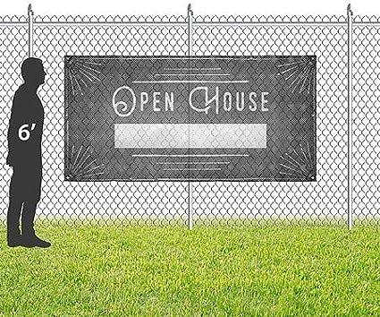 CGSignLab Open House 8x4 Chalk Corner Wind-Resistant Outdoor Mesh Vinyl Banner