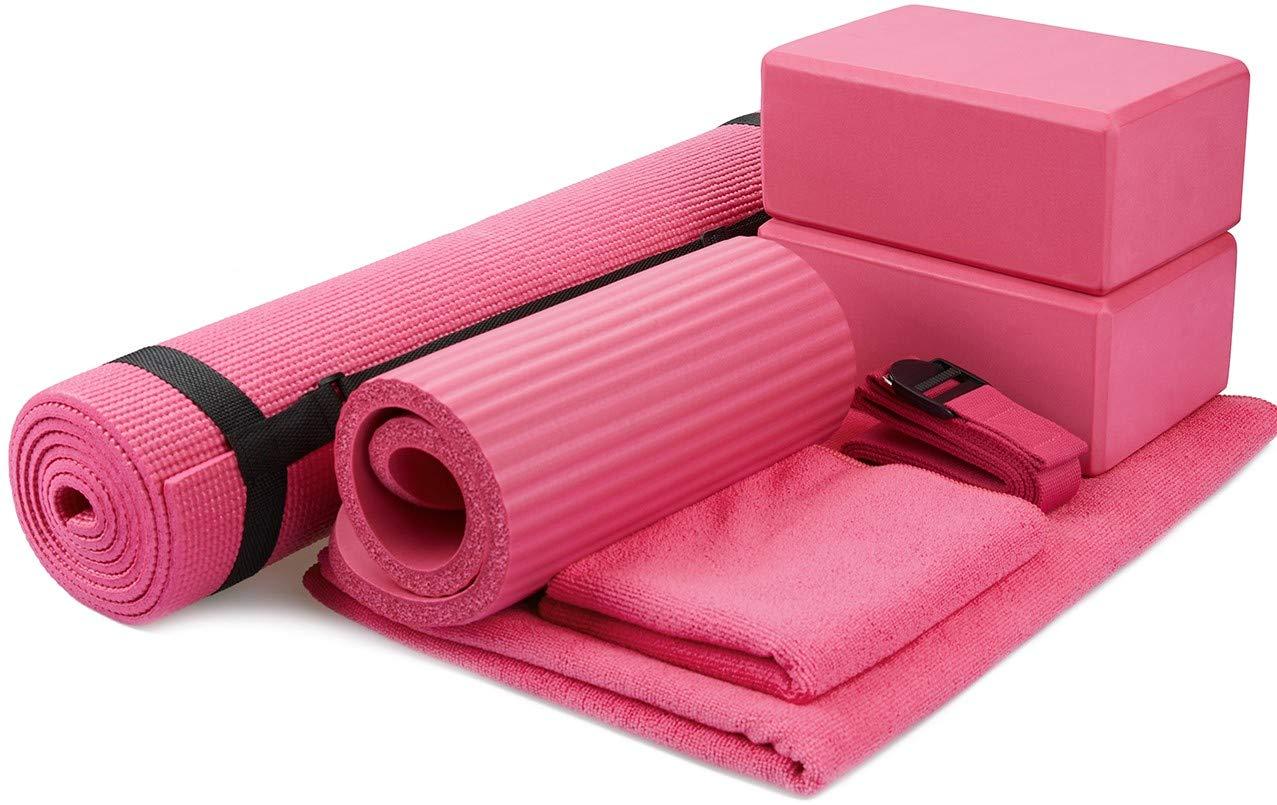 Pink BalanceFrom GoYoga 7Piece Set  Include Yoga Mat with Carrying Strap, 2 Yoga Blocks, Yoga Mat Towel, Yoga Hand Towel, Yoga Strap and Yoga Knee Pad