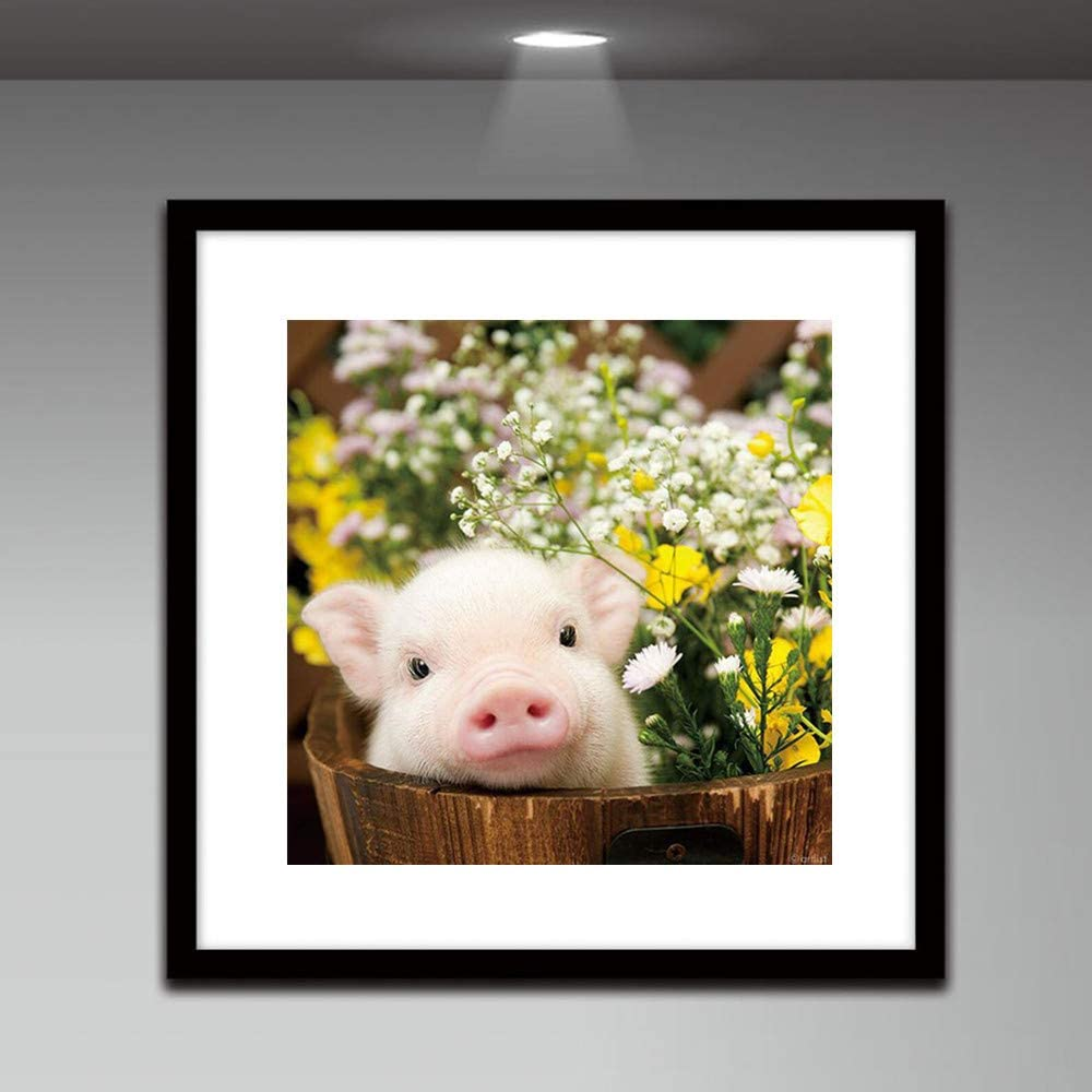 Quaanti 5d DIY Cute Pig Flower Diamond Painting Full Square Rhinestone Cross Stitch Mosaic Round Diamond Embroidery Home Decor A