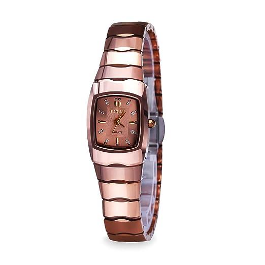 binlun His and Hers Parejas par relojes resistente al agua Rectangular tungsteno Quarzt reloj para mujeres y hombres: Amazon.es: Relojes