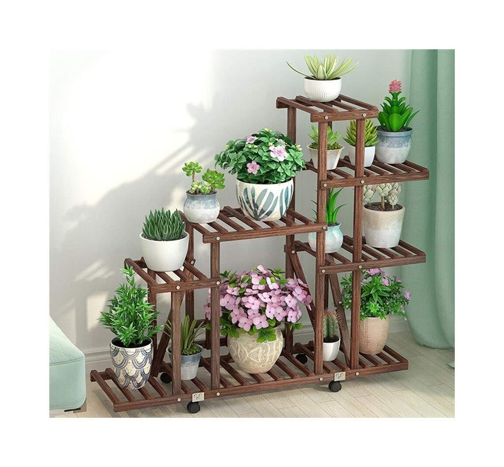 植物収納ラック 純木の花の立場の床の盆栽フレームの居間のバルコニーの塀の円形の多層花の立場 B07SGDMW37