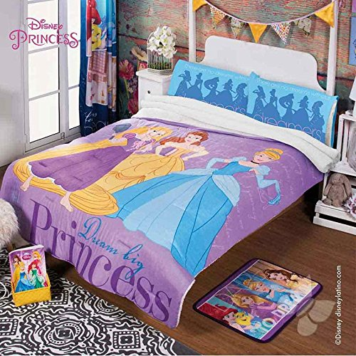 Disney Princess Magic Comforter Purple Fuzzy Fleece Blanket