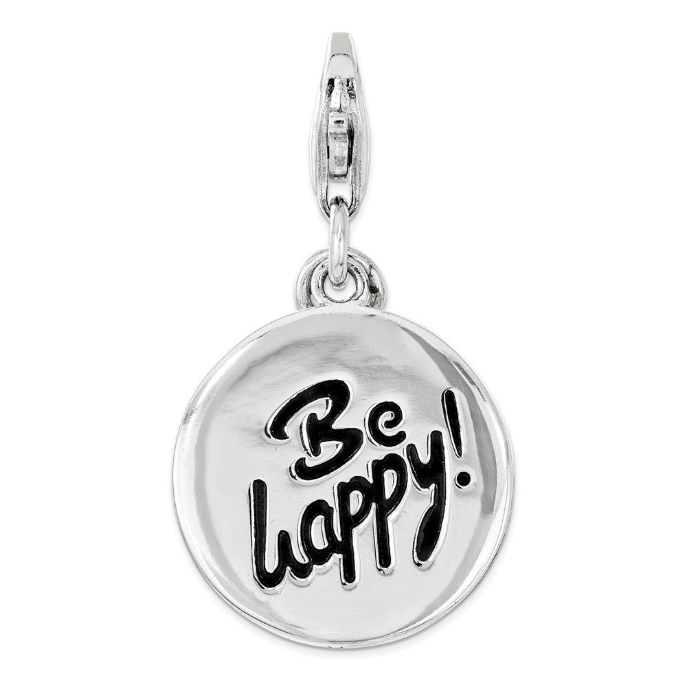 Jewel Tie 925 Sterling Silver Polished BE HAPPY Lobster Clasp Pendant Charm