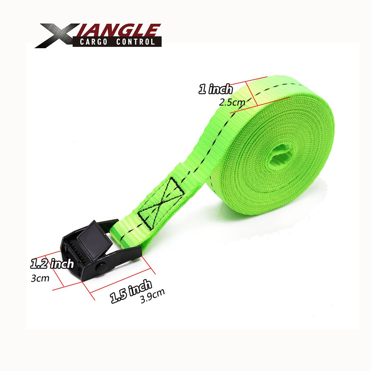 Xiangle Cam Buckle Lashing Strap Tie Down Straps 16-foot-by-1-inch 2PACK for Kayaks 8FT, 2pk Green Canoes Carriers and Other Roof Mounted Luggage