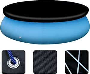 Solar Pool Cover, Dust Swimming Pool Protective Cover, Pool Cover 8 10 12 15 Ft,Easy Set Up Waterproof Round Pool Cover for Above Ground Inflatable Swimming Pools (8 Ft Pool Cover-Black)