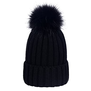 21ff9160621 Simcat Womens Girls Winter Hat Wool Knitted Beanie with Large Pom Pom Cap  Ski Snowboard Hats Bobble (Black)  Amazon.co.uk  Clothing